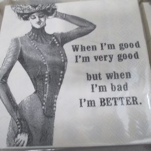 Party napkins lot of 6 When I'm bad I'm Better